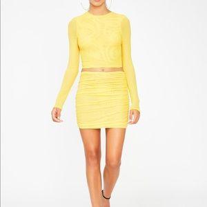 Yellow shine mesh two piece set